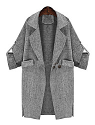 YUYI Women's Solid Color Gray Coats & Jackets , Casual Stand Long Sleeve