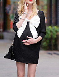 Round Neck / Bow Bow Maternity Dress,Cotton Above Knee ¾ Sleeve