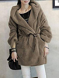 Winter Women's Solid Color Multi-color Coats & Jackets , Sexy / Casual / Work Crew Neck Long Sleeve