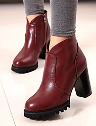 Women's Shoes All Match Chunky Heel Fashion Boots / Round Toe Boots Casual Black / Red