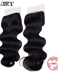 14 Natural Black Body Wave Human Hair Closure Medium Brown Swiss Lace gram Cap Size