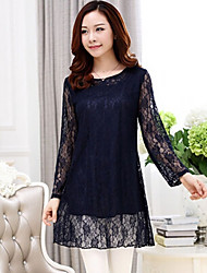 Women's Lace Solid / Lace Dress , Round Neck Above Knee Lace