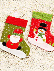 de tres calcetín de la Navidad del muñeco de nieve / de santa claus de algodón