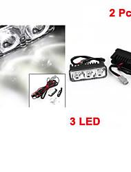 2 Stück Auto 12v weiß 3 LED DRL Tagespositionslampe für Auto Auto