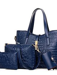 Mulher Bolsas Todas as Estações Couro Ecológico Bolsa de Ombro Tote Conjuntos de saco com para Compras Casual Formal Preto Azul Escuro
