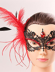 Halloween Fashion Sexy Black Lace Feather Tassel Eye Wear