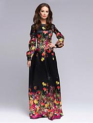 Women's Print Black Dress , Sexy Round Neck Long Sleeve