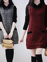 Vestidos ( Tejido )- Casual Cuello de camisa Manga Larga para Mujer