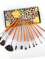 12pcs Professional Cosmetic Makeup Brush Set With Peony Pattern Bag