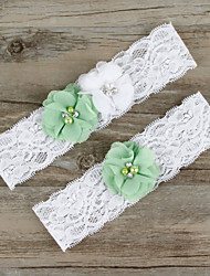 2pcs/set Light Gree And White Satin Lace Chiffon Beading Wedding Garter