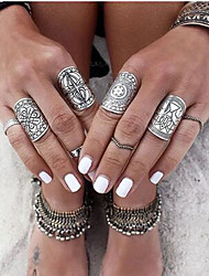 Midi Rings Alloy Flower Fashion Carved Punk Silver Jewelry Party 1set