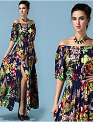 Women's Floral Multi-color Dresses , Casual Off-the-shoulder ½ Length Sleeve