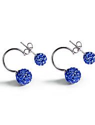 925 Sterling Silver CZ Stone Earring Sweet Korean Style