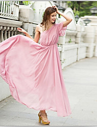 Women's Solid Color Pink Dresses , Sexy / Casual One Shoulder Short Sleeve