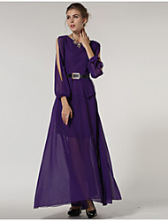 Women's Solid Color Purple Dresses , Casual / Party Round ¾ Sleeve