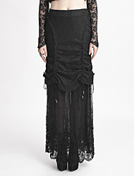 Women's Lace Q-272 black wrinked lace long skirt with belts