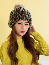 Women Cute Rabbit Fur  Hats with Fox Pompon LD00086