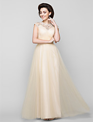 A-line Mother of the Bride Dress Ankle-length Sleeveless Tulle with Beading / Criss Cross