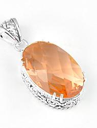 forma para a frente gema morganite oval do vintage pingentes estrela de prata 925 de cinco pontas para colares de casamento 1pc diária