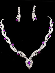 Lucky Doll 925 Silver Plated Gemstone & Crystal Zirconia geometry Heart Tassel Necklace & Earrings Jewelry Sets