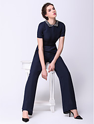 Formal Evening Dress - Dark Navy Sheath/Column Jewel Ankle-length Chiffon