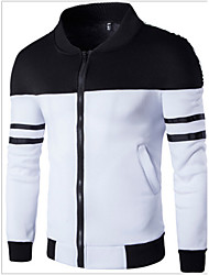 Men's Long Sleeve Jacket , Cotton Casual Striped
