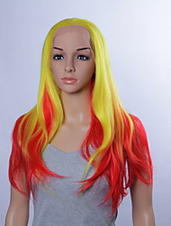 Cosplay Fashion Synthetic Wigs Lace Front Wigs 32inch Straight Yellow/Red Heat Resistant Hair Wigs Women