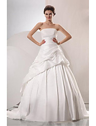 A-line Wedding Dress - White Chapel Train Strapless Taffeta