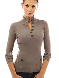 Women's New High Collar Long Sleeve Slim Basic Sweaters with Button