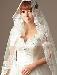 Wedding Veil One-tier Fingertip Veils Cut Edge Lace Applique Edge Tulle White Ivory