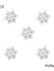 10pcs Silver Snowflake with Clear Rhinestone Christmas Holiday 3D Charm Alloy Nail Art Decoration