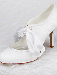 Women's Spring / Summer / Fall / Winter Heels Satin Wedding / Dress / Party & Evening Stiletto Heel Bowknot / Lace-up White
