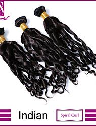 """3 peças / lote 8 """"-30"""" indiano virgem espiral extensões do cabelo da onda 100% cabelo humano virgem não transformados tece"""