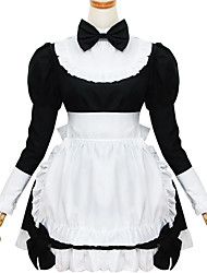 New Black and White Polyester  Maid Costume