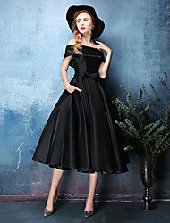 Cocktail Party Dress A-line Off-the-shoulder Tea-length Satin Chiffon / Polyester