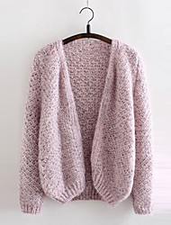 Women's Solid Blue / Pink / Gray Cardigan , Casual Long Sleeve