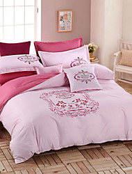 Solid Duvet Cover Sets 4 Piece Cotton solid Embroidery Cotton Queen King 1pc Duvet Cover 2pcs Shams 1pc Flat Sheet