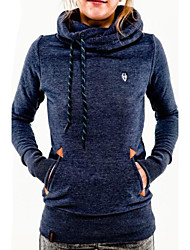 Women's Solid Blue / Pink / Black / Green / Gray Hoodies , Casual Stand Long Sleeve