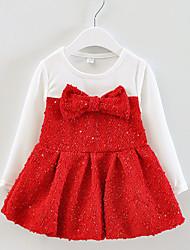 Vestido Chica de - Primavera / Otoño - Algodón - Rosa / Rojo / Amarillo