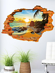 3D Sticker Beach Scenery Wall Stickers for Dining Room Kid Room Decorations Wall Decals Wall Art Decor