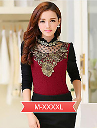 Women's Lace Red / Black Blouse , Stand Long Sleeve