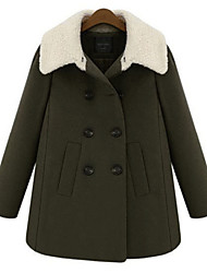 Yana Women'S Loose Long-Sleeved Double-Breasted Wool Coat Thick