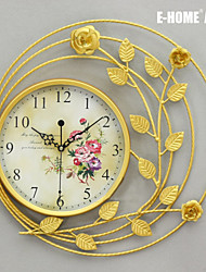 E-HOME® Golden Leaf Rose Metal Wall Clock One Pcs