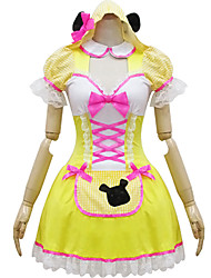 Yellow and White Polyester Maid Costume Type3