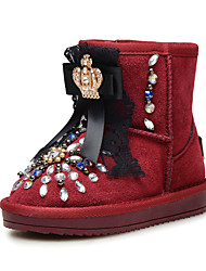 Girls' Shoes Wedding / Outdoor / Dress Snow Boots / Comfort / Round Toe / Closed Toe Suede Boots Brown / Burgundy