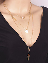 Women's Fashion Alloy Sequins Multilayer Tassel Clavicle Chain Pearl Metal Triangle Pendant Necklace