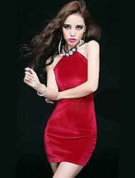 Women's Solid Blue / Red / Black Dress , Bodycon Halter / Round Neck Sleeveless