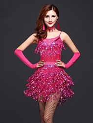 Latin Dance Dresses Women's Performance Sequined / Milk Fiber Tassel(s) 1 Piece Fuchsia / Gold / Red