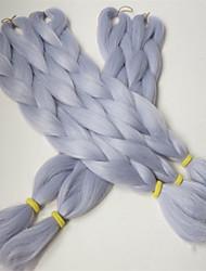 "24"" 80G Blue Shiver Grey Color Kanekalon Senegalese Twists Xpression Synthetic Jumbo Box Braiding Hair"