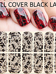 1PCS  Black Lace Full cover Nail stickers1#-8#